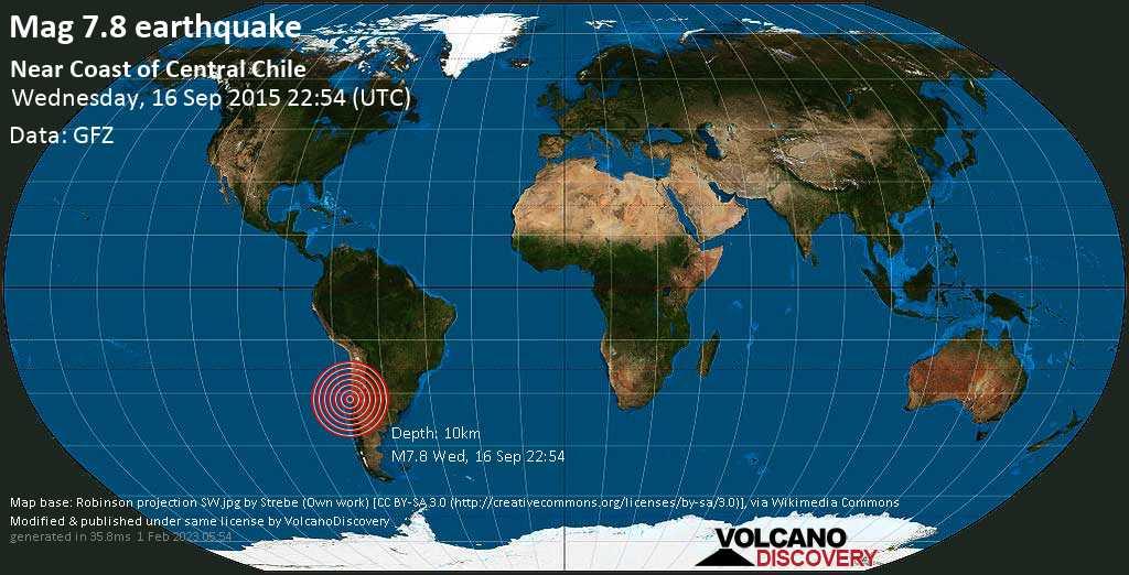 Major mag. 7.8 earthquake  - Near Coast of Central Chile on Wednesday, 16 September 2015