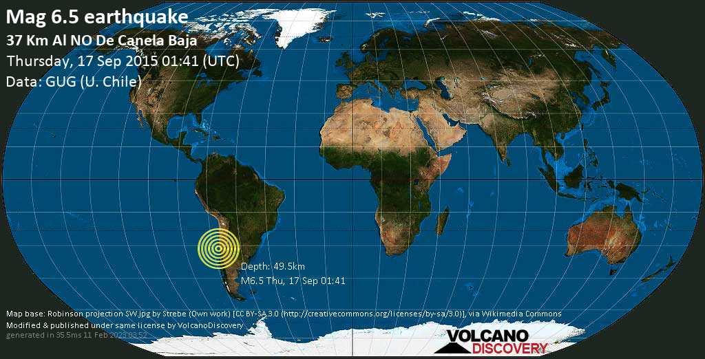 Strong mag. 6.5 earthquake  - 37 km al NO de Canela Baja on Thursday, 17 September 2015