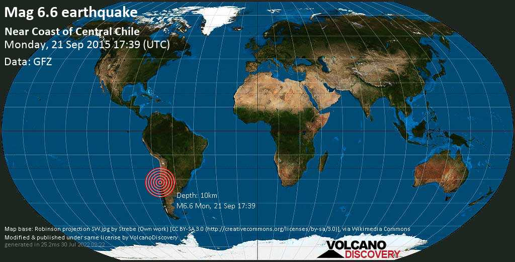 Strong mag. 6.6 earthquake  - Near Coast of Central Chile on Monday, 21 September 2015