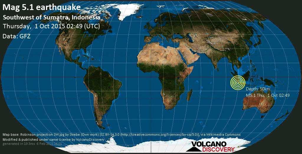 Moderate mag. 5.1 earthquake  - Southwest of Sumatra, Indonesia on Thursday, 1 October 2015