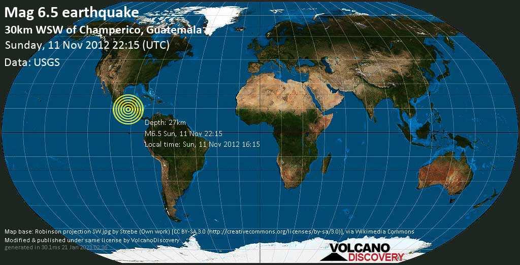 Strong mag. 6.5 earthquake  - 30km WSW of Champerico, Guatemala on Sunday, 11 November 2012