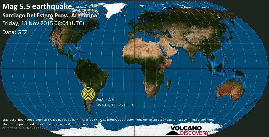 Moderate mag. 5.5 earthquake  - Santiago Del Estero Prov., Argentina on Friday, 13 November 2015
