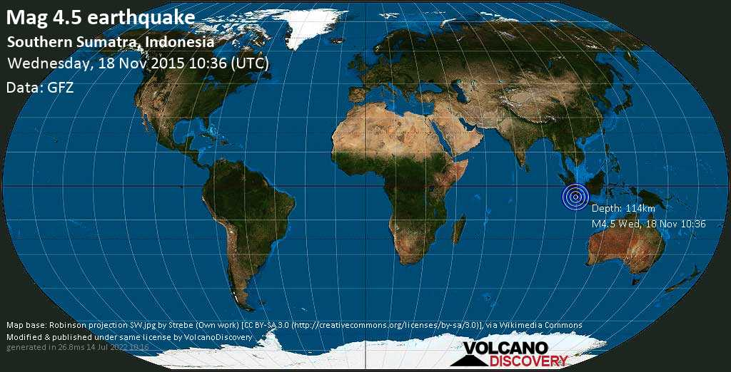 Light mag. 4.5 earthquake  - Southern Sumatra, Indonesia on Wednesday, 18 November 2015