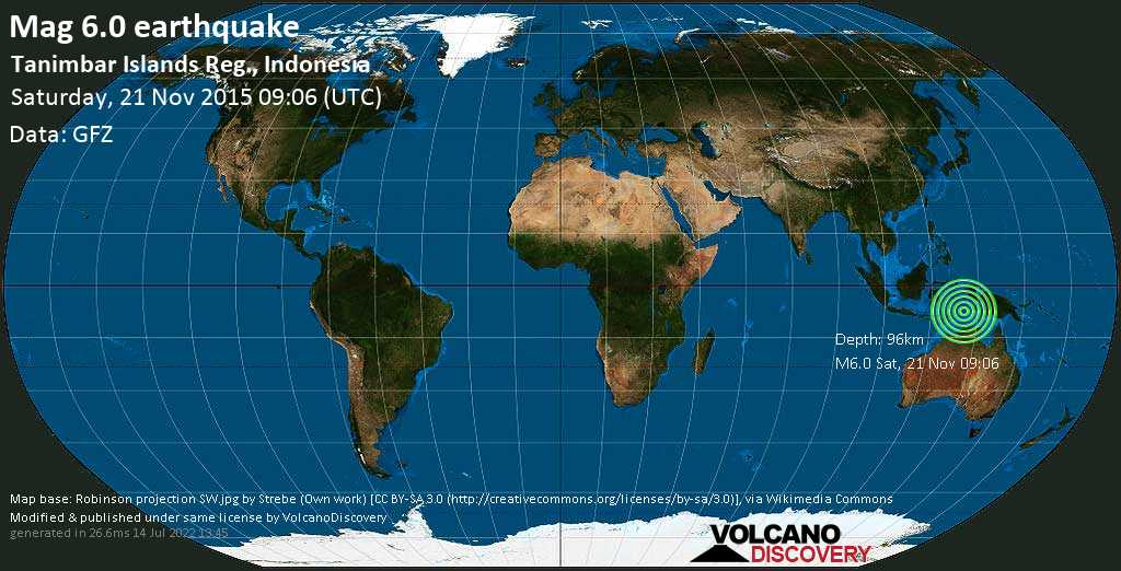 Strong mag. 6.0 earthquake  - Tanimbar Islands Reg., Indonesia on Saturday, 21 November 2015