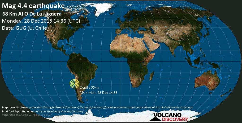 Light mag. 4.4 earthquake  - 68 km al O de La Higuera on Monday, 28 December 2015