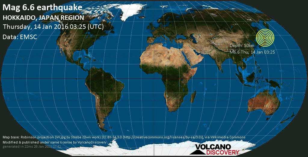 Strong mag. 6.6 earthquake  - HOKKAIDO, JAPAN REGION on Thursday, 14 January 2016
