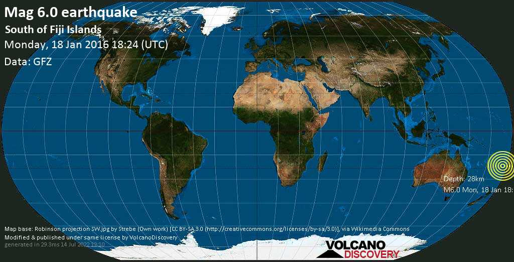 Strong mag. 6.0 earthquake  - South of Fiji Islands on Monday, 18 January 2016