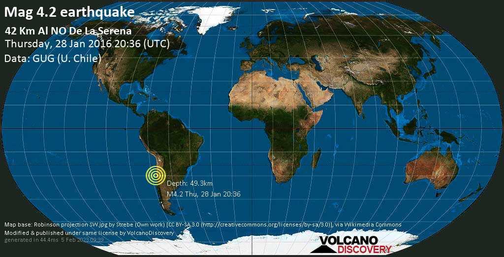 Light mag. 4.2 earthquake  - 42 km al NO de La Serena on Thursday, 28 January 2016