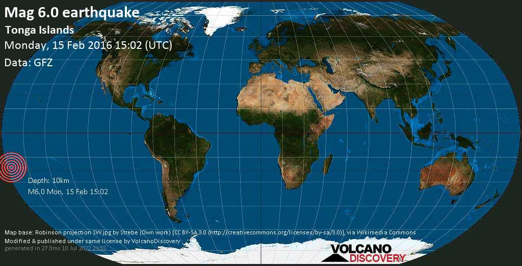 Strong mag. 6.0 earthquake  - Tonga Islands on Monday, 15 February 2016