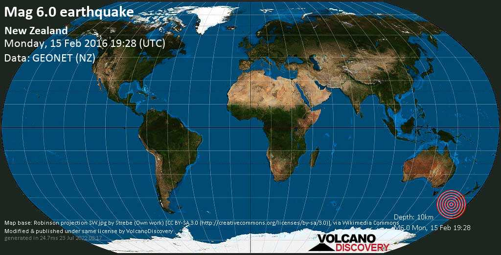 Strong mag. 6.0 earthquake  - New Zealand on Monday, 15 February 2016
