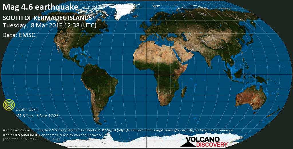 Light mag. 4.6 earthquake  - SOUTH OF KERMADEC ISLANDS on Tuesday, 8 March 2016