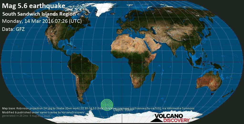 Moderate mag. 5.6 earthquake  - South Sandwich Islands Region on Monday, 14 March 2016
