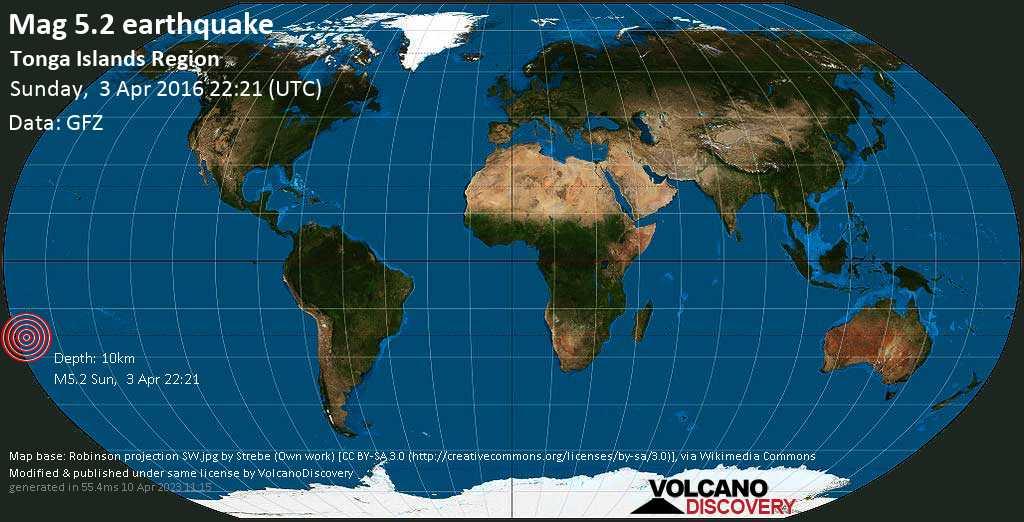 Moderate mag. 5.2 earthquake  - Tonga Islands Region on Sunday, 3 April 2016