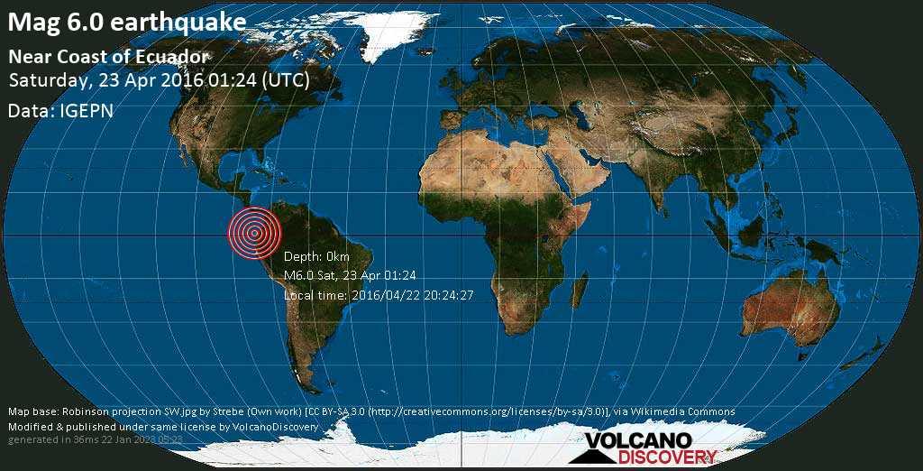 Strong mag. 6.0 earthquake  - Near Coast of Ecuador on Saturday, 23 April 2016