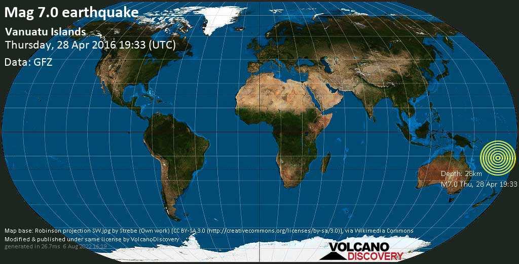 Major mag. 7.0 earthquake  - Vanuatu Islands on Thursday, 28 April 2016