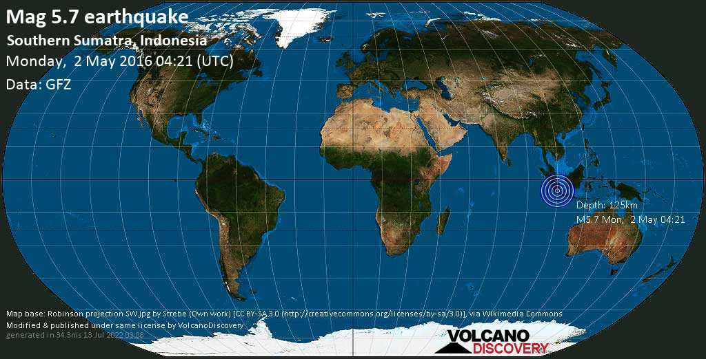 Moderate mag. 5.7 earthquake  - Southern Sumatra, Indonesia on Monday, 2 May 2016