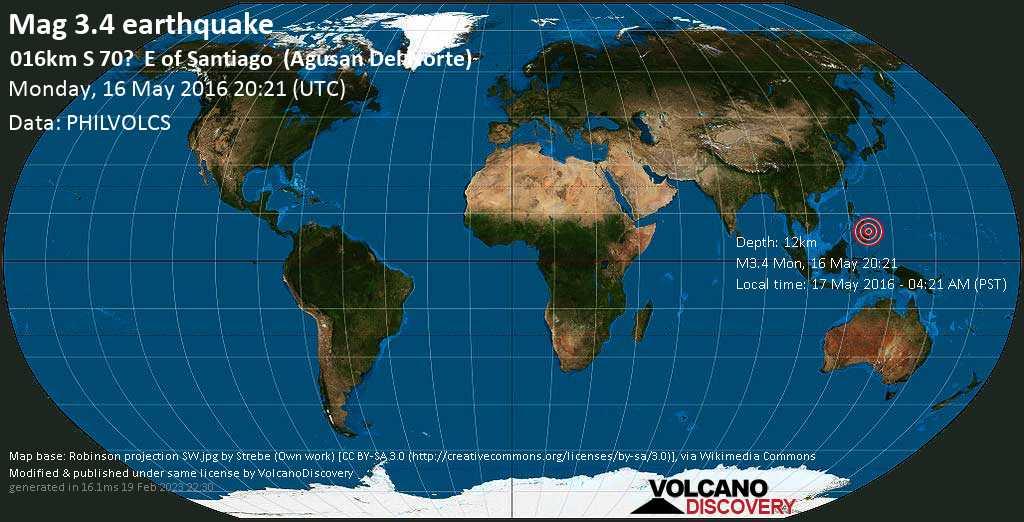 Minor mag. 3.4 earthquake  - 016km S 70?    E of Santiago    (Agusan Del Norte) on Monday, 16 May 2016