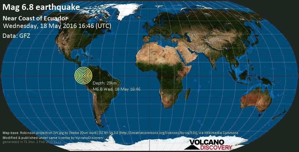 Strong mag. 6.8 earthquake  - Near Coast of Ecuador on Wednesday, 18 May 2016