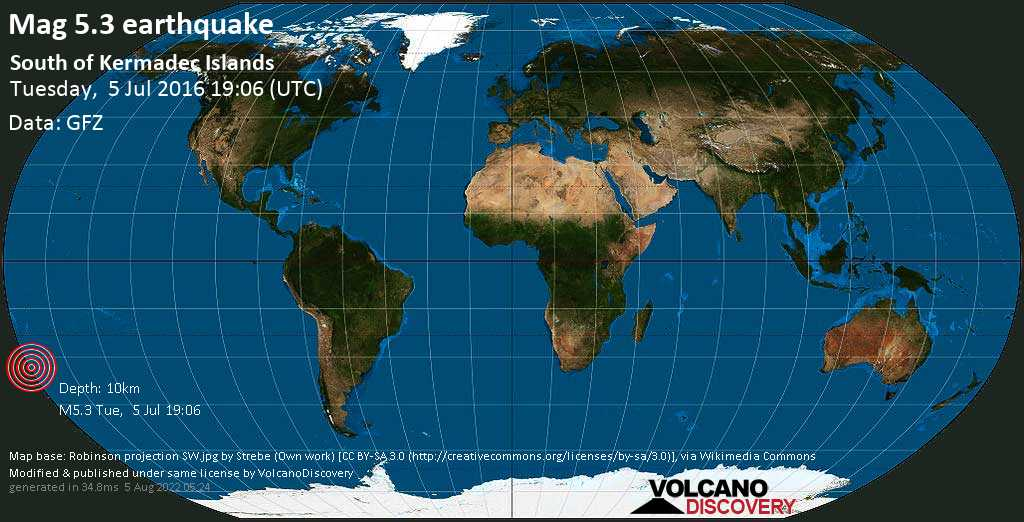 Moderate mag. 5.3 earthquake  - South of Kermadec Islands on Tuesday, 5 July 2016