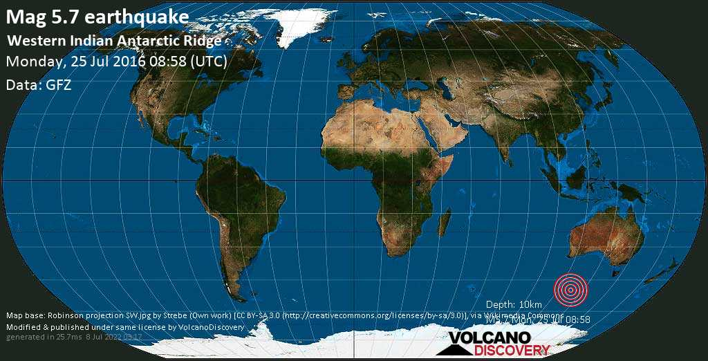 Moderate mag. 5.7 earthquake  - Western Indian Antarctic Ridge on Monday, 25 July 2016