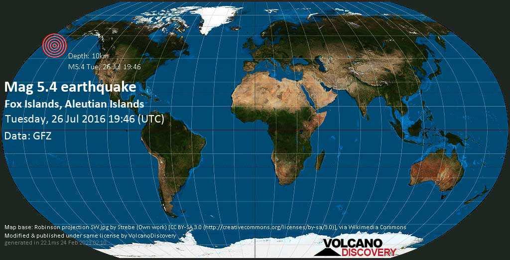 Moderate mag. 5.4 earthquake  - Fox Islands, Aleutian Islands on Tuesday, 26 July 2016