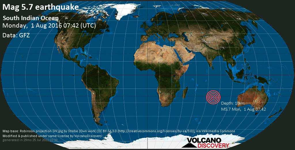 Moderate mag. 5.7 earthquake  - South Indian Ocean on Monday, 1 August 2016
