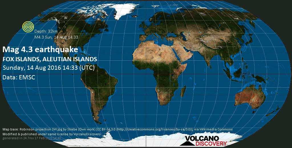 Light mag. 4.3 earthquake  - FOX ISLANDS, ALEUTIAN ISLANDS on Sunday, 14 August 2016