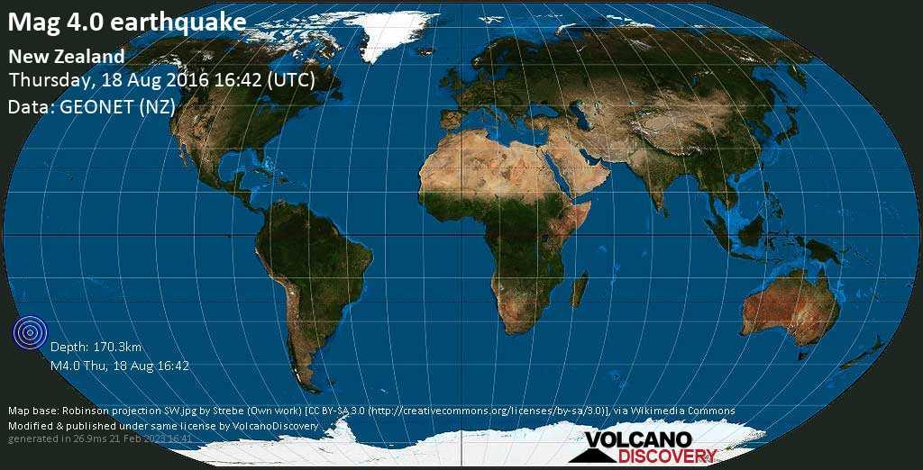 Light mag. 4.0 earthquake  - New Zealand on Thursday, 18 August 2016