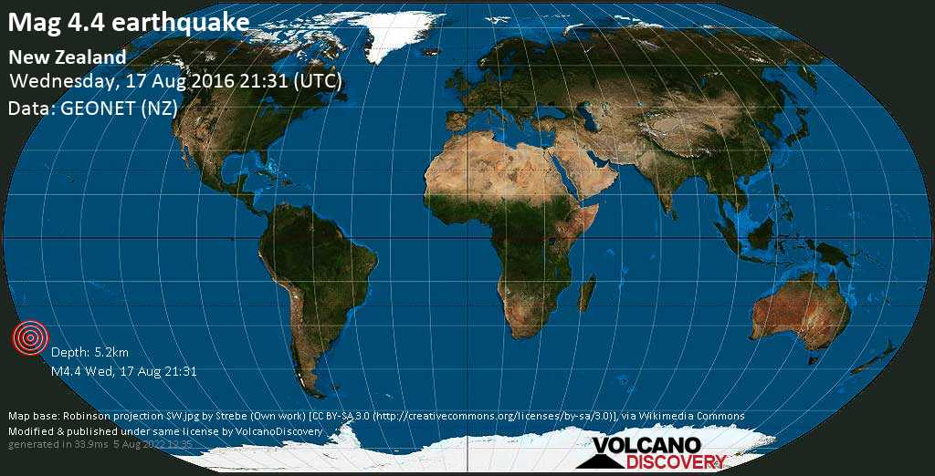 Light mag. 4.4 earthquake  - New Zealand on Wednesday, 17 August 2016