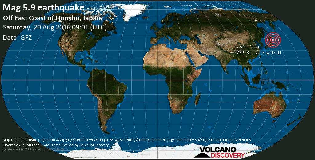 Moderate mag. 5.9 earthquake  - Off East Coast of Honshu, Japan on Saturday, 20 August 2016