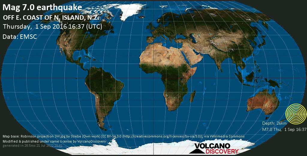 Major mag. 7.0 earthquake  - OFF E. COAST OF N. ISLAND, N.Z. on Thursday, 1 September 2016