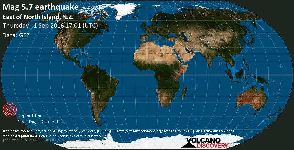 Moderate mag. 5.7 earthquake  - East of North Island, N.Z. on Thursday, 1 September 2016