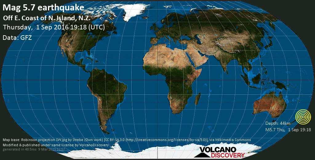 Moderate mag. 5.7 earthquake  - Off E. Coast of N. Island, N.Z. on Thursday, 1 September 2016