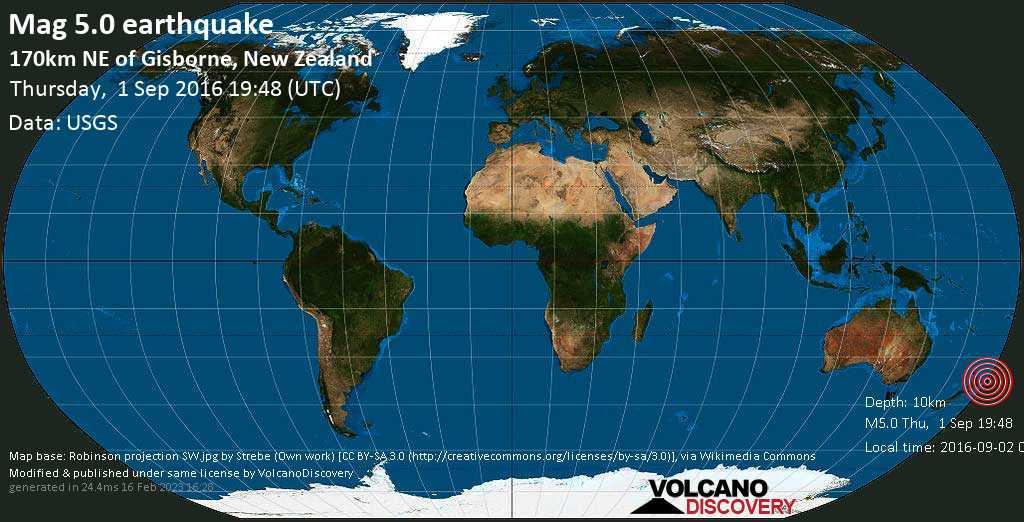 Moderate mag. 5.0 earthquake  - 170km NE of Gisborne, New Zealand on Thursday, 1 September 2016