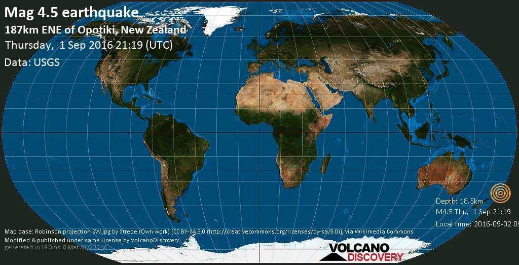 Light mag. 4.5 earthquake  - 187km ENE of Opotiki, New Zealand on Thursday, 1 September 2016