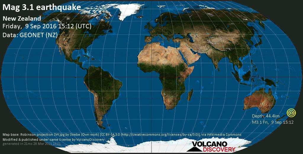 Minor mag. 3.1 earthquake  - New Zealand on Friday, 9 September 2016