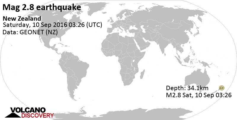 Minor mag. 2.8 earthquake  - New Zealand on Saturday, 10 September 2016