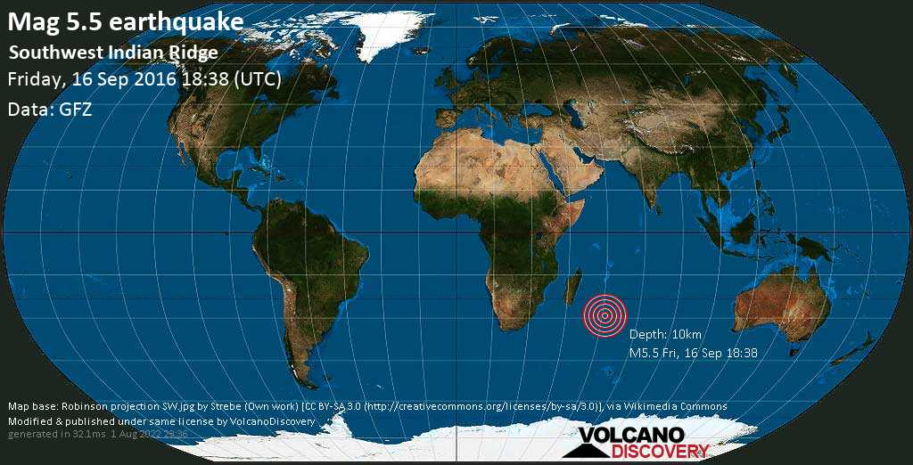 Moderate mag. 5.5 earthquake  - Southwest Indian Ridge on Friday, 16 September 2016