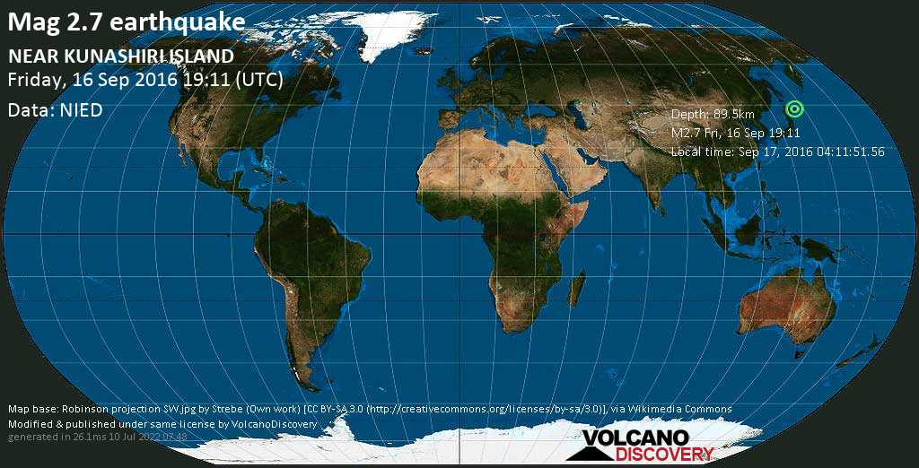 Minor mag. 2.7 earthquake  - NEAR KUNASHIRI ISLAND on Friday, 16 September 2016