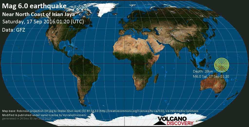 Strong mag. 6.0 earthquake  - Near North Coast of Irian Jaya on Saturday, 17 September 2016