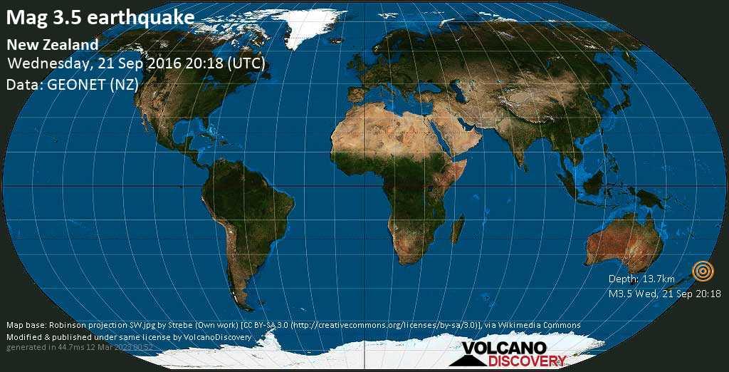 Minor mag. 3.5 earthquake  - New Zealand on Wednesday, 21 September 2016