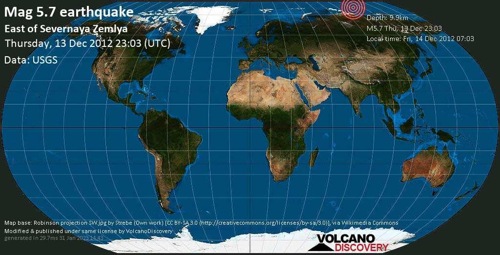 Moderate mag. 5.7 earthquake  - East of Severnaya Zemlya on Thursday, 13 December 2012