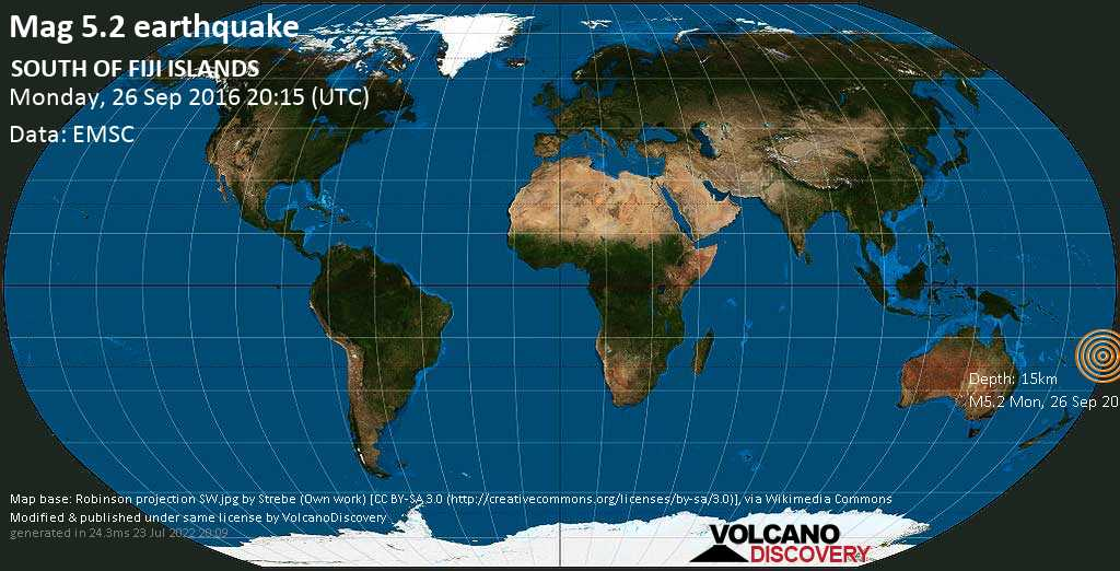 Moderate mag. 5.2 earthquake  - SOUTH OF FIJI ISLANDS on Monday, 26 September 2016