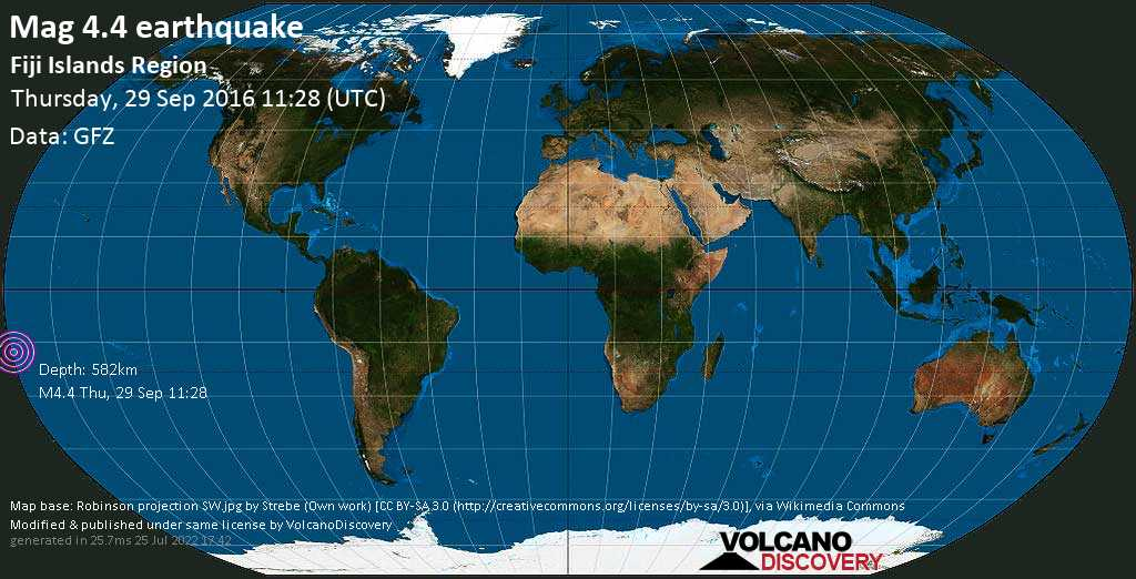Light mag. 4.4 earthquake  - Fiji Islands Region on Thursday, 29 September 2016