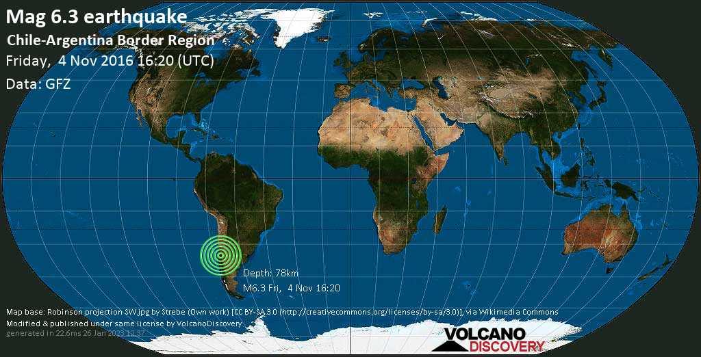 Strong mag. 6.3 earthquake  - Chile-Argentina Border Region on Friday, 4 November 2016