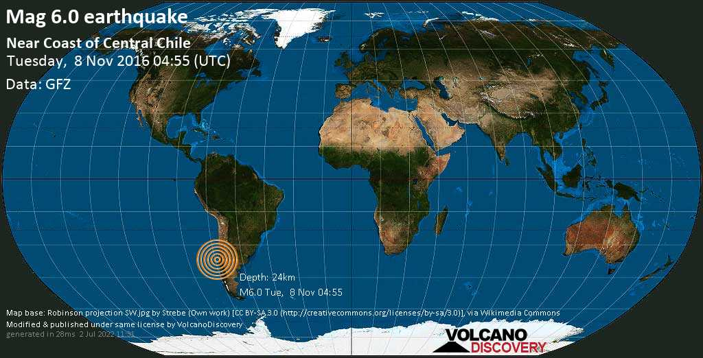 Strong mag. 6.0 earthquake  - Near Coast of Central Chile on Tuesday, 8 November 2016