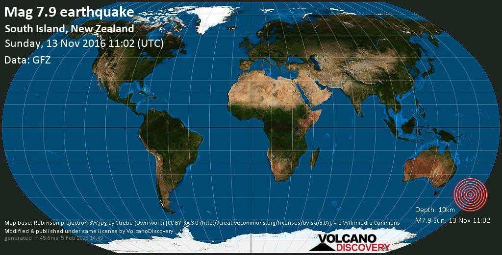 Major mag. 7.9 earthquake  - South Island, New Zealand on Sunday, 13 November 2016