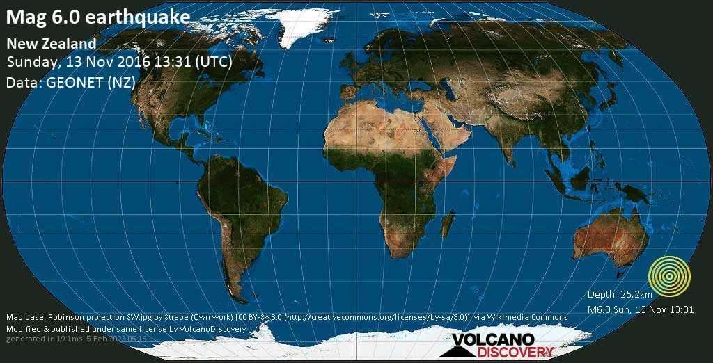Strong mag. 6.0 earthquake  - New Zealand on Sunday, 13 November 2016