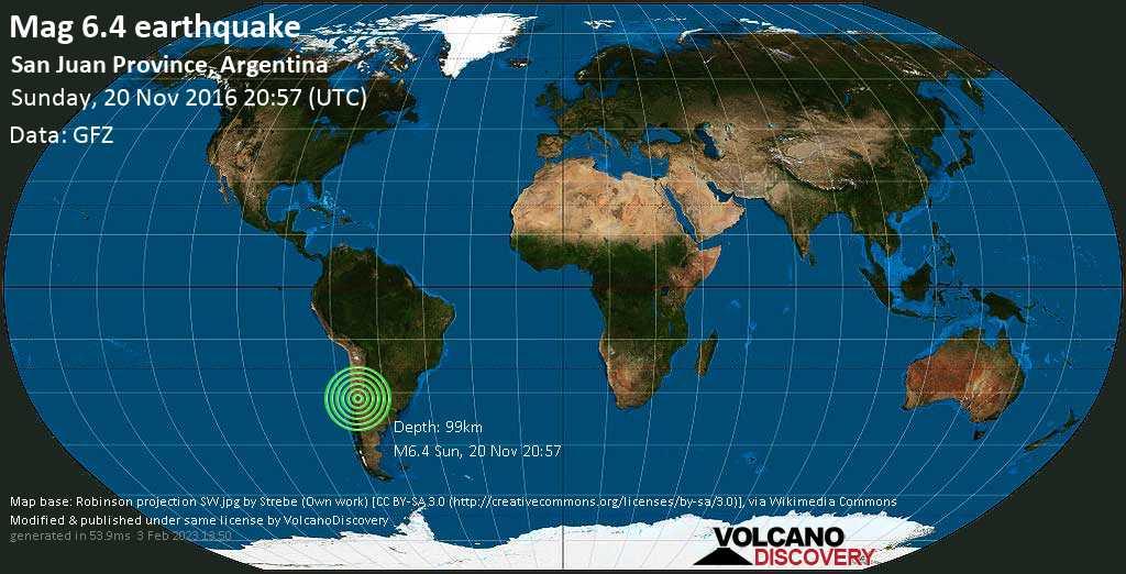 Strong mag. 6.4 earthquake  - San Juan Province, Argentina on Sunday, 20 November 2016
