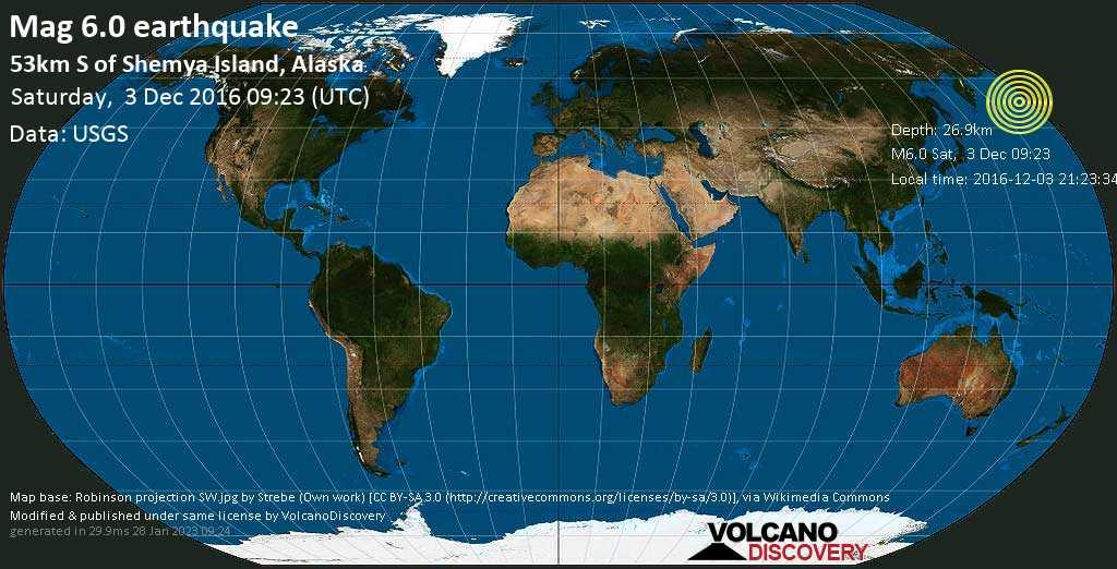 Strong mag. 6.0 earthquake  - 53km S of Shemya Island, Alaska on Saturday, 3 December 2016